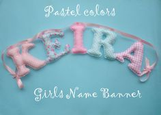 Personalized Fabric letter banner girl's by LittleFairyCottage