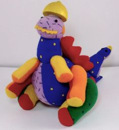 Dakin-Mix-Match-Dinosaur-Velcro-Pieces-Stuffed-Animal-Plush-Applause-Animix-Vtg