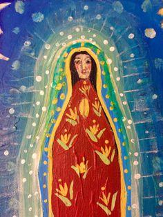 Original Folk Art Madonna Guadelupe Painting by rose walton by RoseWalton on Etsy Primitive Folk Art, Mother Mary, Beautiful Soul, Naive, Face Art, Primitives, Madonna, Catholic, Prayer