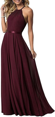 30a209dfd5285 Long Sexy Sleeveless Wedding Party Dress Formal Flowy Evening Prom Gown  (Burgundy