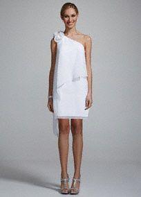 DB Studio One Shoulder Chiffon Dress with 3D Floral Detail, Style 231M39270 #davidsbridal #bridalshower #littlewhitedress