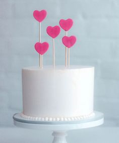 Pretty Pink Hearts Birthday Cake