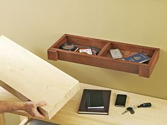 Hidden-compartment Wall Shelf Woodworking Plan from WOOD Magazine Woodworking Machinery, Learn Woodworking, Woodworking Plans, Woodworking Projects, Woodworking Skills, Popular Woodworking, Custom Woodworking, Wood Shelves, Floating Shelves