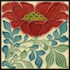 TH2590 Rare Pilkington Lewis F Day Arts & Crafts Floral Majolica Tile c.1898 #ArtsCrafts