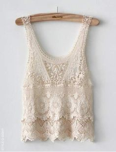 Cute White Crochet Lace Vest (would look good w/ a solid neutral bandeau) Beauty And Fashion, Look Fashion, Passion For Fashion, Street Fashion, Fashion Photo, Unique Fashion, Womens Fashion, Tee Shirt Dentelle, Vintage Chic