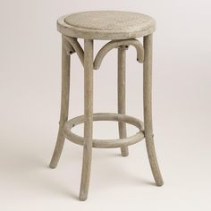 Wood and Rattan Syena Backless Counter Stool -- narrow, might be able to fit 4 across?