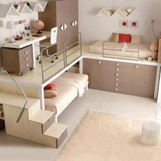Teen Girl Bedrooms - Sweet and awe inpsiring teen room decor ideas. Desperate for other super teen room styling information why not jump to the image for the pin suggestion 5297022466 now Modern Bunk Beds, Cool Bunk Beds, Kids Bunk Beds, Twin Beds, Bunk Bed Ideas For Small Rooms, Bunkbeds For Teens, Corner Bunk Beds, Bunk Bed With Desk, Modern Bedrooms