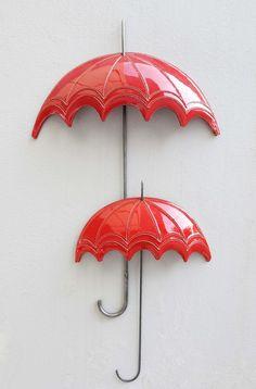 Red ceramic umbrella large Ceramic wall art Top Umbrella