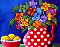 Pansies Polka Dots Floral Fun Funky Colorful by reniebritenbucher Folk Art Flowers, Colorful Flowers, Flower Art, Decoupage Vintage, Art Floral, Art Fantaisiste, Mexican Folk Art, Naive Art, Whimsical Art