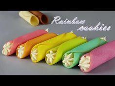 [Eng Sub] 레인보우 랑그드샤 쿠키 만들기/Langue De Chat Recipe/Recette Des Cigarettes Russes/Rolled Butter Cookies - YouTube