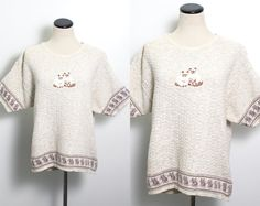 VTG 80's Kitschy Kitties Sweater (Large / Medium) Short Sleeves Oatmeal Waffle Knit Embroidered Siamese Cats Knit Kittens Trim Vintage Sweater