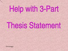 Very basic help for learning 3-part thesis statement