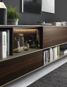 A combination of open shelves and closed cabinets for the wall unit. Love the hidden lighting under shelf