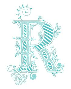 Hand drawn monogrammed print, 8x10, the Letter R, in the color blue