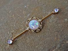 Gold Glitter Opal Industrial Barbell Scaffold Piercing 14ga Body Jewelry…