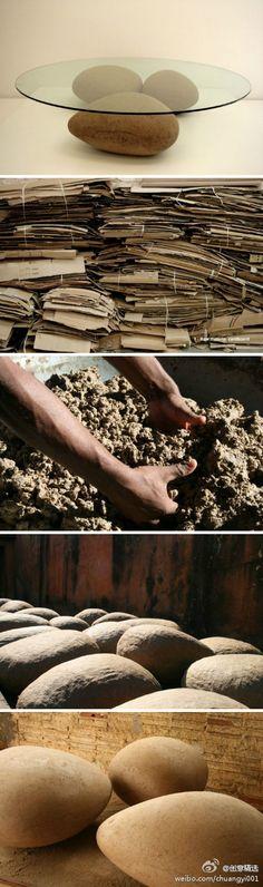 巴西设计师 Domingos Tótora ,用纸浆和胶水做成的鹅卵石,可以以假乱真,而且环保,资源再利用