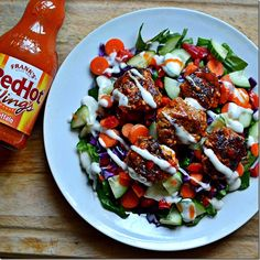 Baby Buffalo Beef Burger Salad - so good and only 7 WW points!
