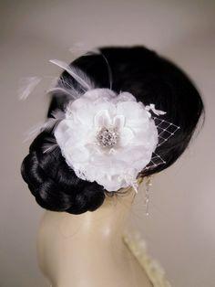 White Silk and Lace Feather Rhinestone Flower by IslandGirlDesigns, $45.00