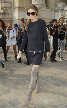Olivia Palermo In Tres Chic Mini Dress And Thigh-High Boots For Paris Fashion Week Shows