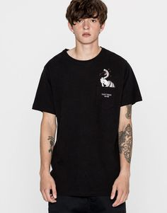 Snake pocket print T-shirt - T-shirts - Clothing - Man - PULL&BEAR United Kingdom