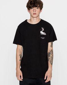 Snake pocket print T-shirt - T-shirts - Clothing - Man - PULL&BEAR United Kingdom