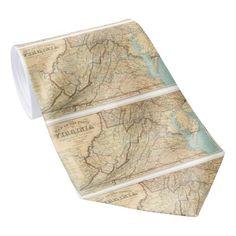 Vintage Map of Virginia (1863) Neck Tie