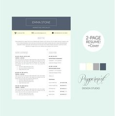 Cover Letter In A Resume Fascinating 2 Page Resume Template With Cover Letter And Photo For Word .