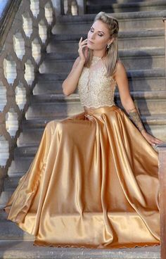 prom dress for teens, two piece prom dress, 2018 prom dress, long prom dress, gold prom dress