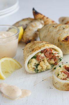 Calamari-stuffed with chorizo and haloumi