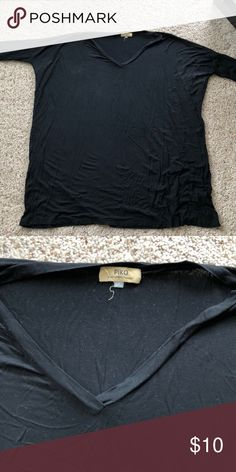 Black V-Neck Piko Dress Comfy t-shirt dress by Piko! Piko 1988 Dresses Mini