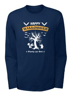 Happy Halloween Party 31 Oct Navy T-Shirt Front