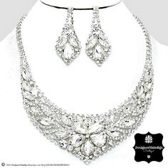 OW Rhinestone Silver & Clear Bridal Bib Necklace and Earrings Set Flower by DESIGNERSHINDIGS on Etsy
