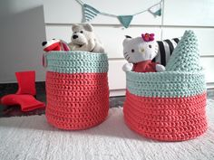XXL Coral Mint Crochet Baskets - Big Crochet Storage Bin - Large Storage Toy Baskets - Laundry Hamper - Home Organization