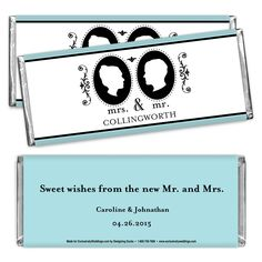 Hershey's® Romantic Cameo Personalized Large Chocolate Bar Favor | #exclusivelyweddings