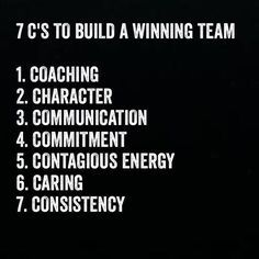 Building a winning team is made up of these 7 C's. You will notice that coaching is right at the top. Do you embrace coaching as part of building a winning team? How do you apply this? Does your organisation make use of internal or external coaches? Leadership Tips, Leadership Development, Quotes About Leadership, Leadership Qualities, Quotes About Team, Quotes About Work, Leadership Assessment, Nursing Leadership, Student Leadership