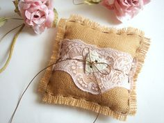 Rustic Ring Bearer PillowVintage Shabby Chic Ring  by accessory8, $25.00