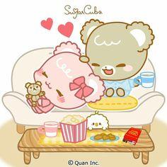 Mi oshito Cute Couple Comics, Cute Couple Cartoon, Chibi Cat, Cute Chibi, Cute Love Pictures, Cute Images, Bear Emoticon, Cubs Wallpaper, Cute Bear Drawings