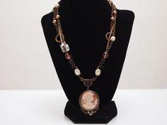 Extasia Bronze Multi-strand Arts & Crafts Cameo Necklace #Extasia #Chain
