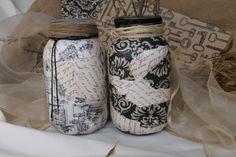 Decoupage quart Mason Jars.fabric and heavy paper by WickedTrixies