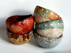 I have been on a bowl making spree.   I made the forms out of egg cartons that I soaked    and pulverized into pulp.                The ...