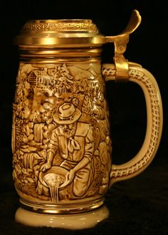 Vintage Avon Beer Stein with California Gold Rush Novelty Scene