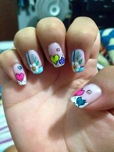53 Ideas and Photos of Elegant, Easy and Simple Decorated Nails that are Trend 2018 Step by Step Designs! uñas decoradas con corazones y flores Love Nails, Pretty Nails, My Nails, Nail Polish Designs, Nail Art Designs, Nails For Kids, Manicure E Pedicure, Heart Nails, Nail Designs Spring