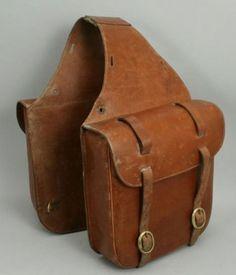 1930's leather saddle bag