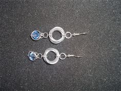 Mobius & Captured blue crystal earrings Chainmaille, Blue Crystals, Crystal Earrings, Belly Button Rings, Jewelery, Sculpture, Jewels, Jewlery, Chain Mail