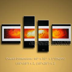 Hand-painted Tetraptych Modern Abstract Painting Wall Art Ready To Hang. In Stock $139 from http://OilPaintingShops.com @Bo Yi Gallery/ ops9296