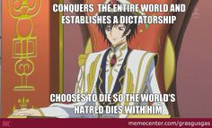 Lelouch did everything for others and had to die only to live with loneliness because of the Code all hail Emperor Lelouch Vi Brittania!