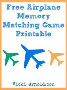 Free Airplane Memory Matching Game Printable at Vicki-Arnold.com