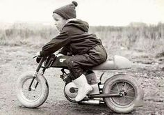 Little guy on a motorcycle