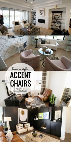 Tips, trick and where to find the best accent chairs! How To Style upholstered Accent Chairs And Where To Buy Them Featured On Remodelaholic.com. Accent chairs for living rooms. Upholstered accent chairs. Accent chair styling. Chair, Contemporary Chairs, Modern Farmhouse Living Room, Upholstered Accent Chairs, Transitional House, Sofa End Tables, Home Decor, Upholstered Chairs, Perfect Chair