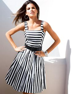 Corsagenkleid in Streifendessin in der Farbe schwarz / weiß - schwarz, weiß - im MADELEINE Mode Onlineshop